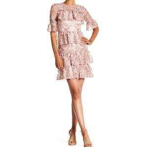 🆕 MONIQUE LHUILLIER blush lace tiered dress- $495